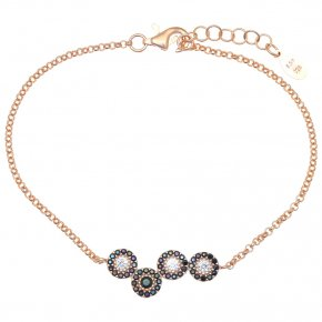 Bracelet in silver 925 pink gold plated with colored zirconia - Helios