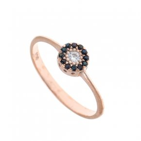 Ring Silver 925, pink gold plated with coloredzirconia - Helios
