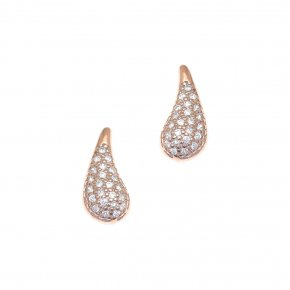 Earrings in silver 925, pink gold plated with white zirconia - Eva
