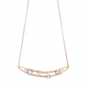 Necklace in silver 925 pink gold plated with white zirconia - Mouses