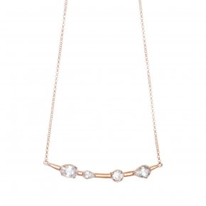 Necklace in silver 925, pink gold plated with white zirconia - Mouses