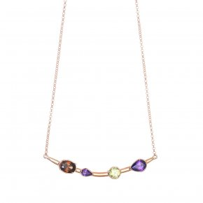 Necklace in silver 925 pink gold plated with colored zirconia - Mouses