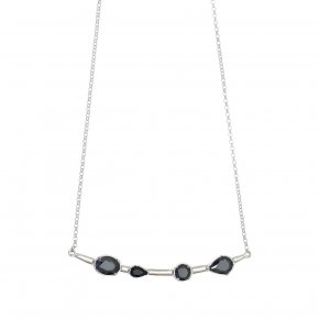 Necklace in silver 925 rhodium plated with black spinel - Mouses
