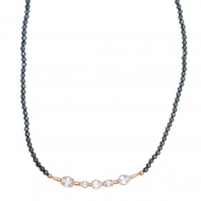 Necklace in silver 925 pink gold plated with hematite and white zirconia - Mouses