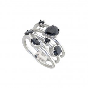 Ring Silver 925 rhodium plated with black spinel - Mouses