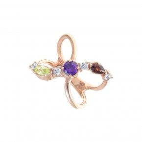 Ring Silver 925, pink gold plated with coloredzirconia - Mouses