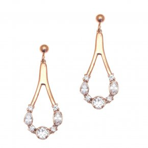 Earrings in silver 925, pink gold plated with white zirconia - Mouses