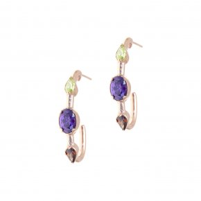Earrings in silver 925, pink gold plated with colored zirconia - Mouses