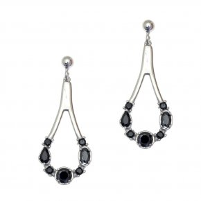 Earrings in silver 925, rhodium plated with blackspinel - Mouses