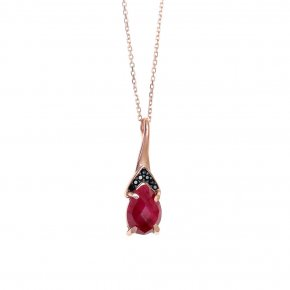 Necklace in silver 925, pink gold plated with ruby and blackspinel - Nymfes