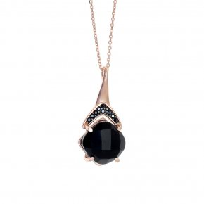 Necklace in silver 925, pink gold plated with onyx and blackspinel - Nymfes