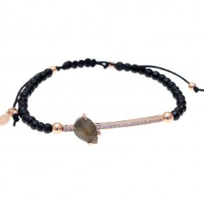 Bracelet in silver 925, pink gold plated with onyx and white zirconia with labradorite andwhite zirconia - Nymfes