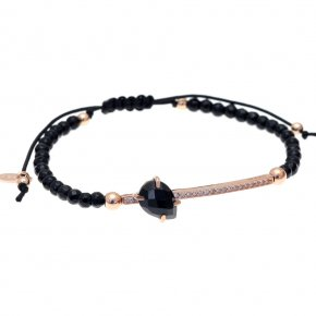 Bracelet in silver 925, pink gold plated with onyx and white zirconia - Nymfes