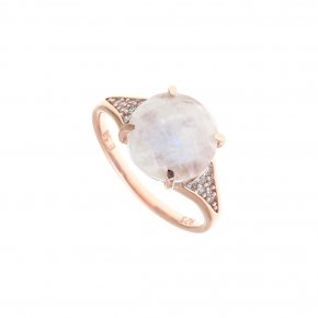 Ring Silver 925, pink gold plated with moonstone and white zirconia - Nymfes
