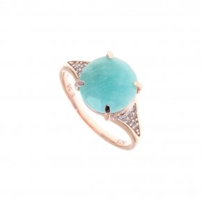 Ring Silver 925, pink gold plated with amazonite and white zirconia - Nymfes