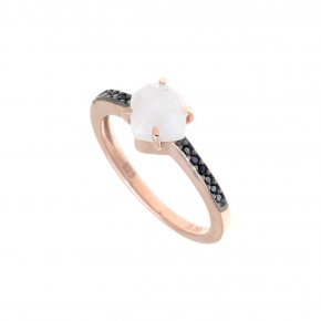 Ring Silver 925 pink gold plated with moonstone and black spinel - Nymfes