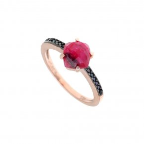 Ring Silver 925 pink gold plated with ruby and black spinel - Nymfes