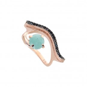 Ring Silver 925, pink gold plated with amazonite and blackspinel - Nymfes