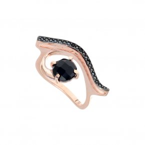 Ring Silver 925 pink gold plated with onyx and black spinel - Nymfes