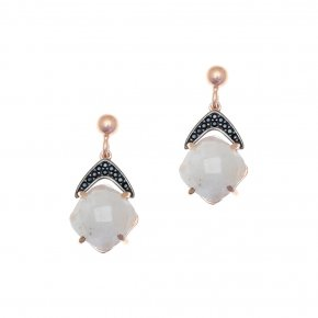 Earrings in silver 925 pink gold plated with moonstone and black spinel - Nymfes