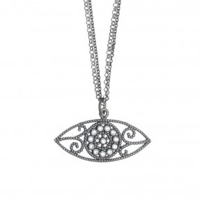 Necklace in silver 925 rhodium plated with white zirconia - Pathos