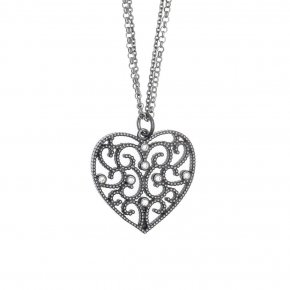 Necklace in silver 925, rhodium plated with white zirconia - Pathos