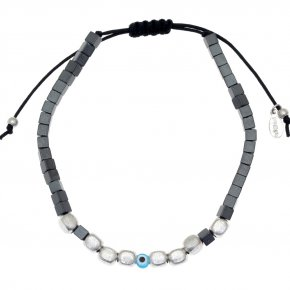 Cord Bracelet in silver 925 rhodium plated with hematite - My Man