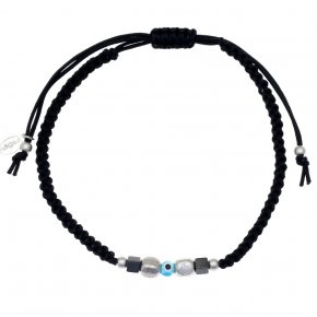 Cord Bracelet in silver 925, rhodium plated withhematite - Apopsis