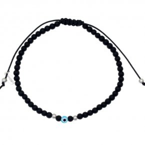 Cord Bracelet in silver 925 rhodium plated with onyx - My Man