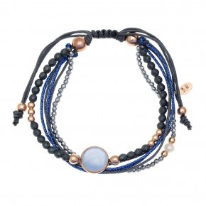 Bracelet in silver 925 pink gold plated with agate and hematite - aperitto