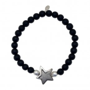 Bracelet in silver 925 black and white rhodium plated with onyx - METALLO