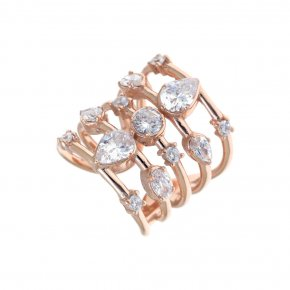 Ring Silver 925 pink gold plated with white zirconia - Mouses