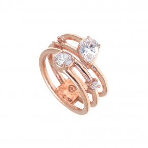 Ring Silver 925, pink gold plated with white zirconia - Mouses