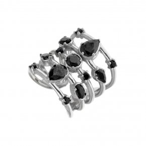 Ring Silver 925, rhodium plated with black spinel - Mouses