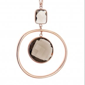 Necklace in silver 925, pink gold plated with smokyquartz - Nostalgia