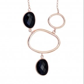 Necklace in silver 925, pink gold plated with onyx - Nostalgia
