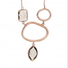 Necklace in silver 925 pink gold plated with smoky quartz - Nostalgia