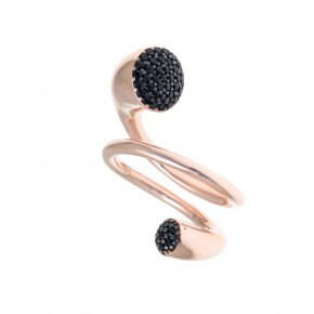 Ring Silver 925, pink gold plated with black spinel - Abyssos