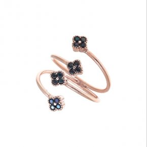 Ring in silver 925 pink gold plated with black spinel - Mitos