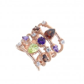 Ring Silver 925 pink gold plated with colored zirconia - Mouses