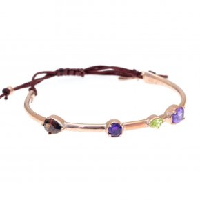 Cord Bracelet in silver 925 pink gold plated with colored zirconia - Mouses