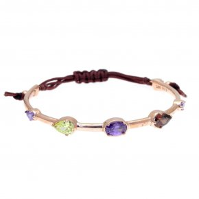 Cord Bracelet in silver 925, pink gold plated with colouredzirconia - Mouses