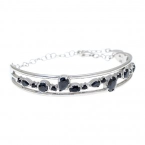 Bracelet in silver 925 rhodium plated with black spinel - Mouses