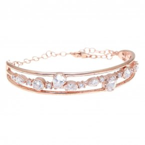 Bracelet in silver 925 pink gold plated with white zirconia - Mouses