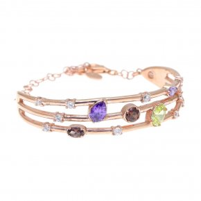 Bracelet in silver 925 pink gold plated with colored zirconia - Mouses