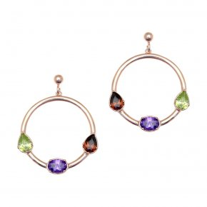 Earrings in silver 925 pink gold plated with colored zirconia - Mouses