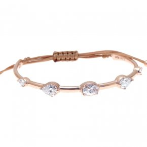 Cord Bracelet in silver 925 pink gold plated with white zirconia - Mouses