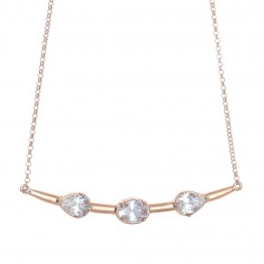 Necklace in silver 925 pink gold plated and with colored zirconia - Mouses