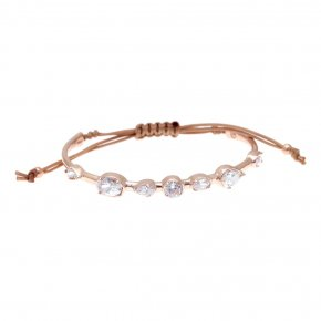 Cord Bracelet in silver 925 pink gold plated with black spinel - Mouses