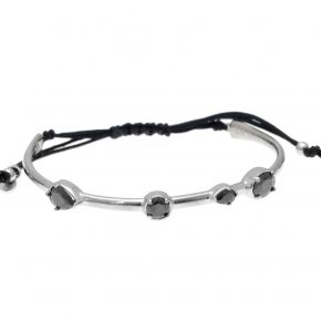 Cord Bracelet in silver 925 rhodium plated with black spinel - Mouses